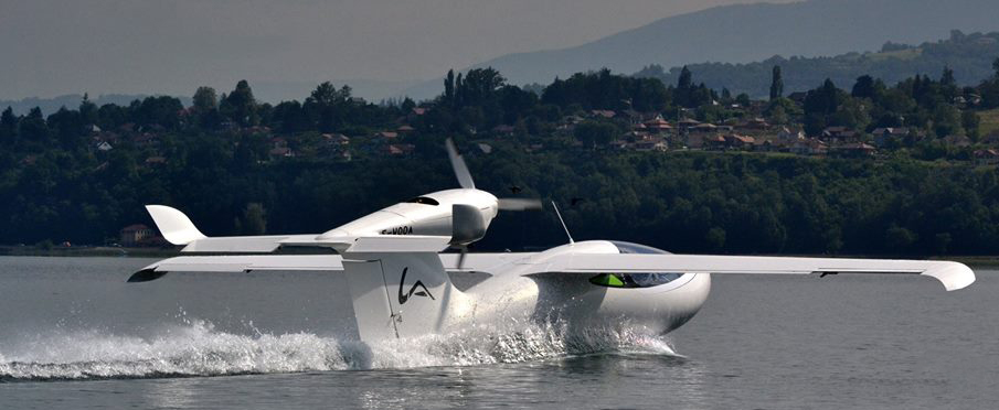 Seaplane taking off from water