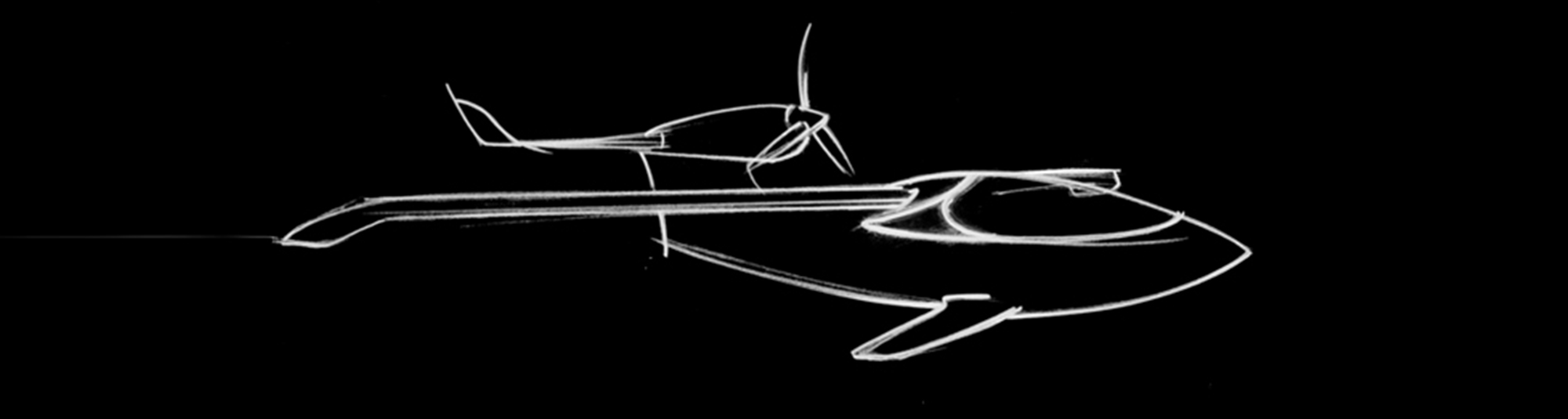 Black and white sketch of the innovative aircraft LISA AKOYA