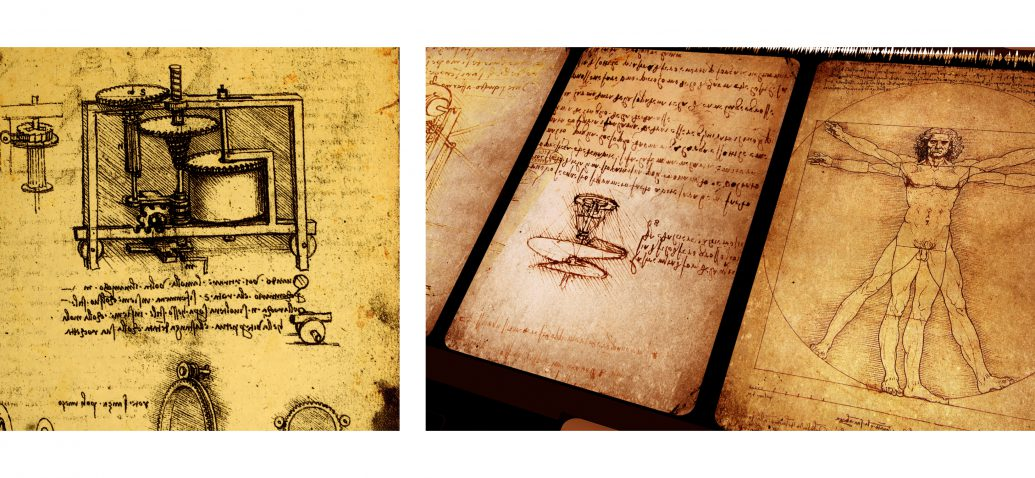 Technical sketches of Leornardo da Vinci