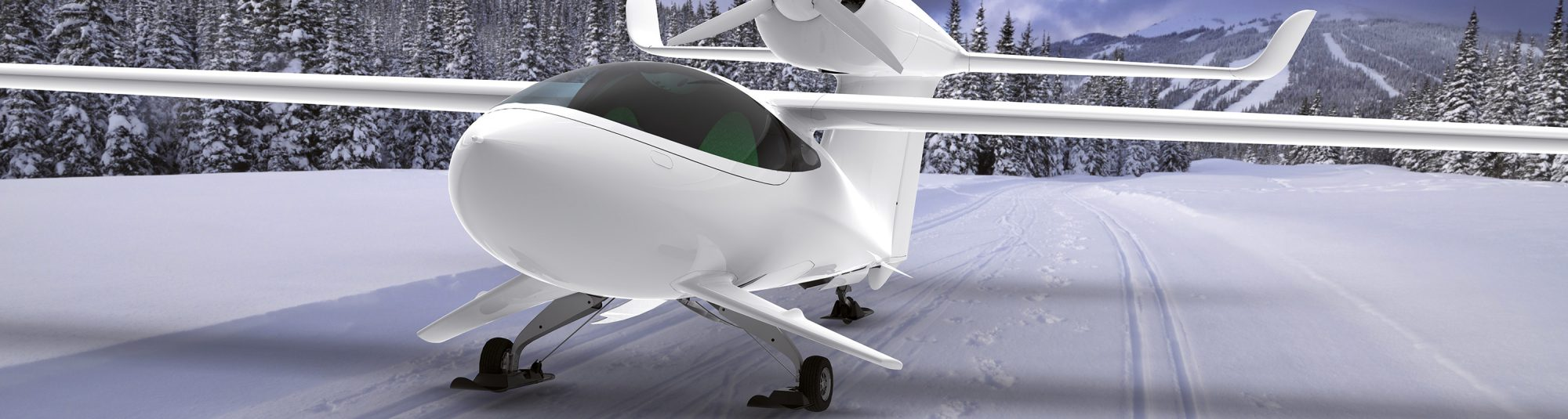 LISA Akoya aircraft skis-in technology on snow