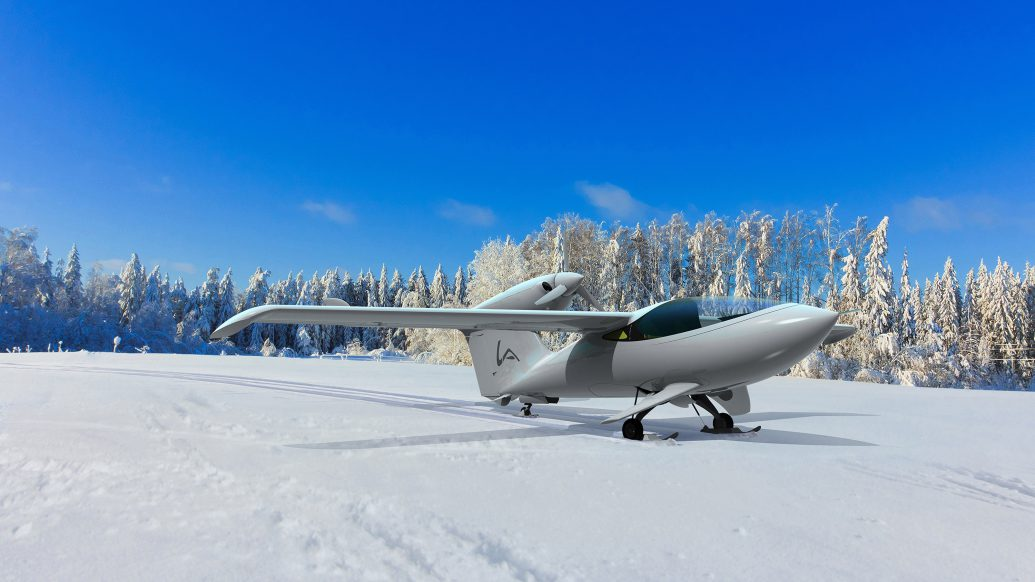 Skiplane on snow