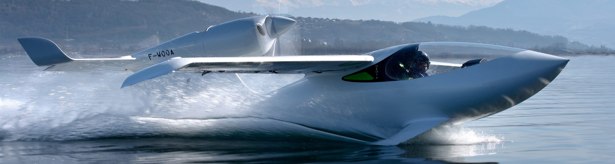 Private seaplane with hydrofoils on water